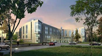 Artist rendering of the new hospital building from the main entrance